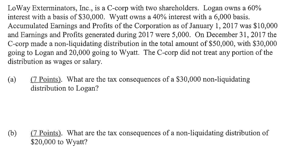 Liquidating distribution for a c corporation