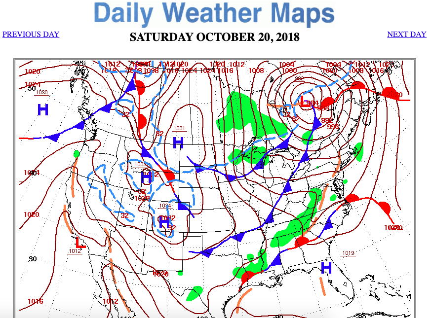 Observe The Daily Weather Map For Saay, Octobe ... on home map, texas chill hour map, latest storm ny map, daily life map, ice snow load map, daily earthquake map, topography map, daily astronomy map, history map, northeast florida coast map, nunavut map, daily time map,