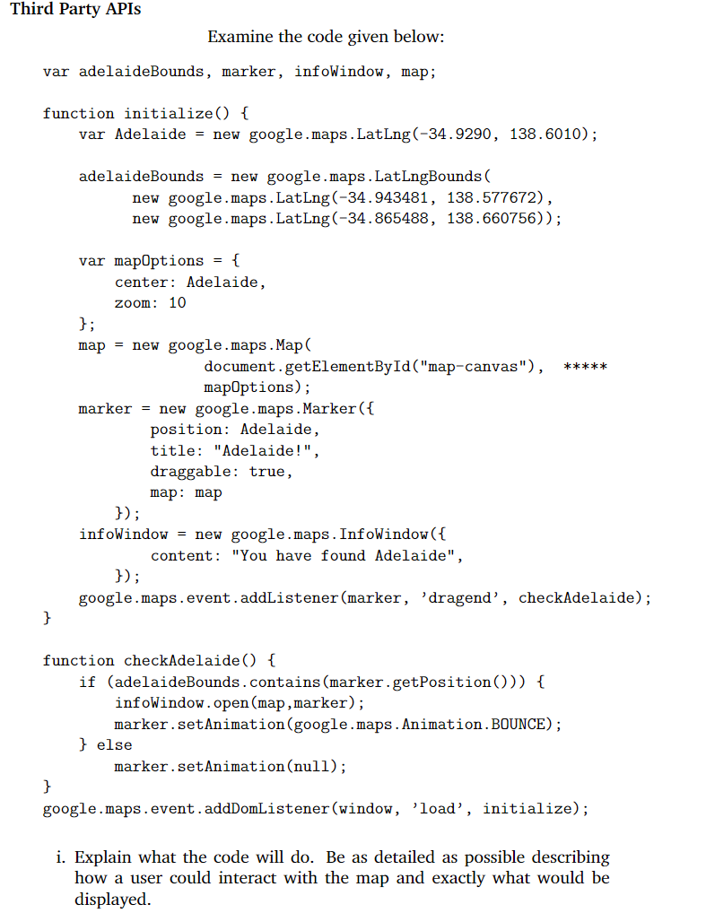 Solved: Third Party APIS Examine The Code Given Below: Var