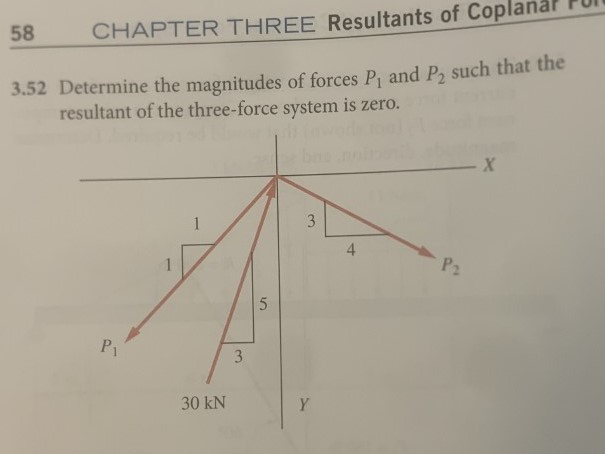 58 CHAPTER THREE Resultants of Coplanar 3.52 Determine the magnitudes of forces P, and Po such that the resultant of the thre