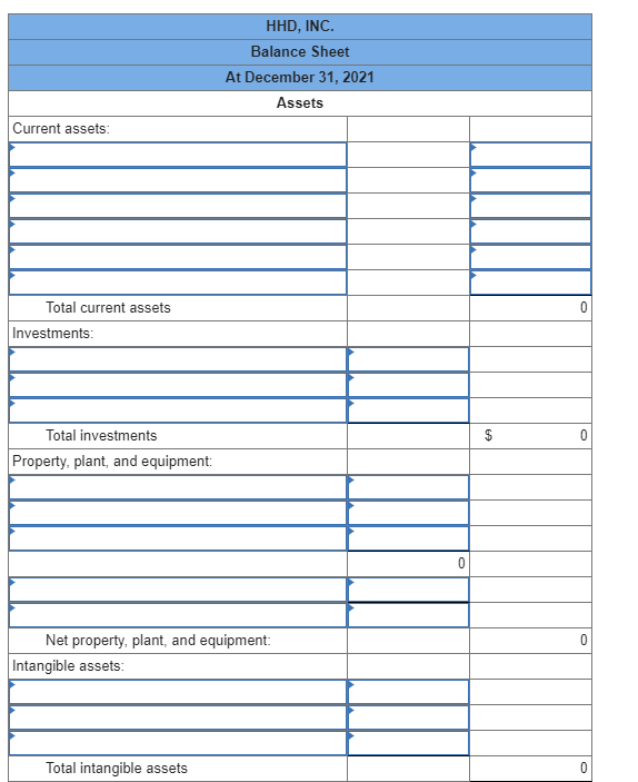Solved: Presented Below Is The Balance Sheet For HHD, Inc ...