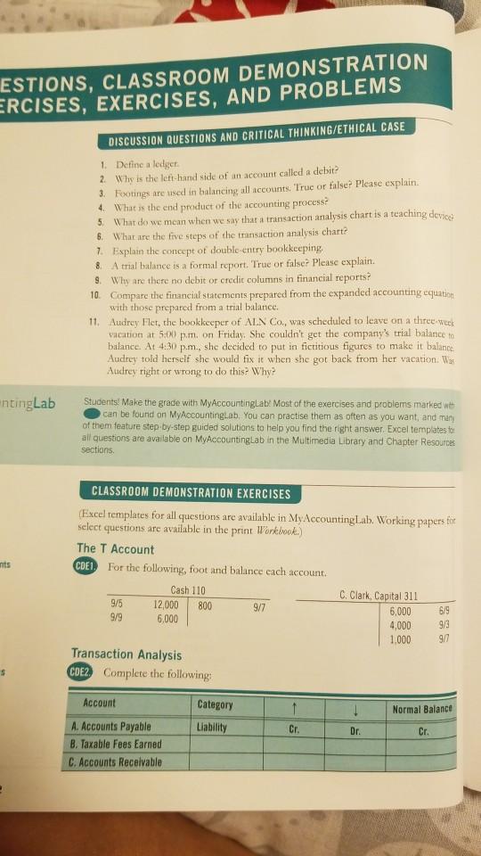 Solved: ESTIONS, CLASSROOM DEMONSTRATION ERCISES, EXERCISE...   Chegg.com