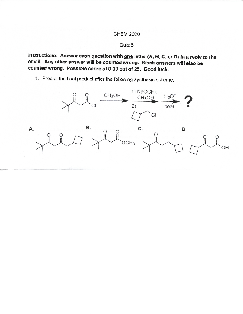Solved: CHEM 2020 Quiz 5 Instructions: Answer Each Questio