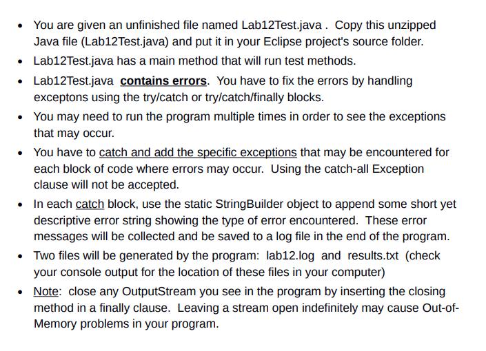 Lab12Test Java File: Import Java io File