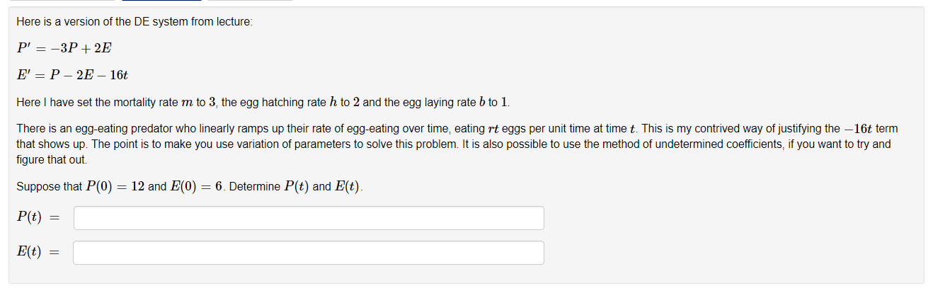 Solved: Here Is A Version Of The DE System From Lecture: P... | Chegg.com