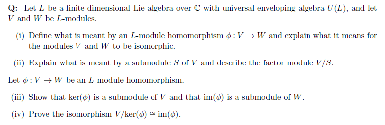 Solved Q Let L Be A Finite,dimensional Lie Algebra Over