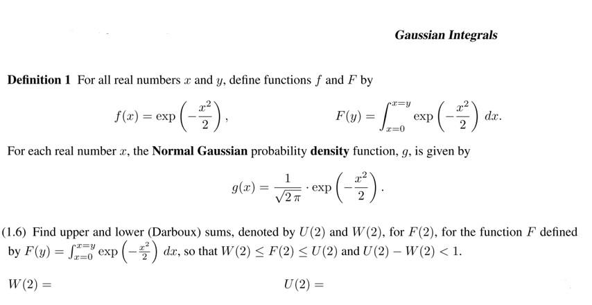Gaussian Integrals Definition 1 For All Real Numbe ...