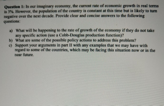 Solved: Question 1: In Our Imaginary Economy, The Current