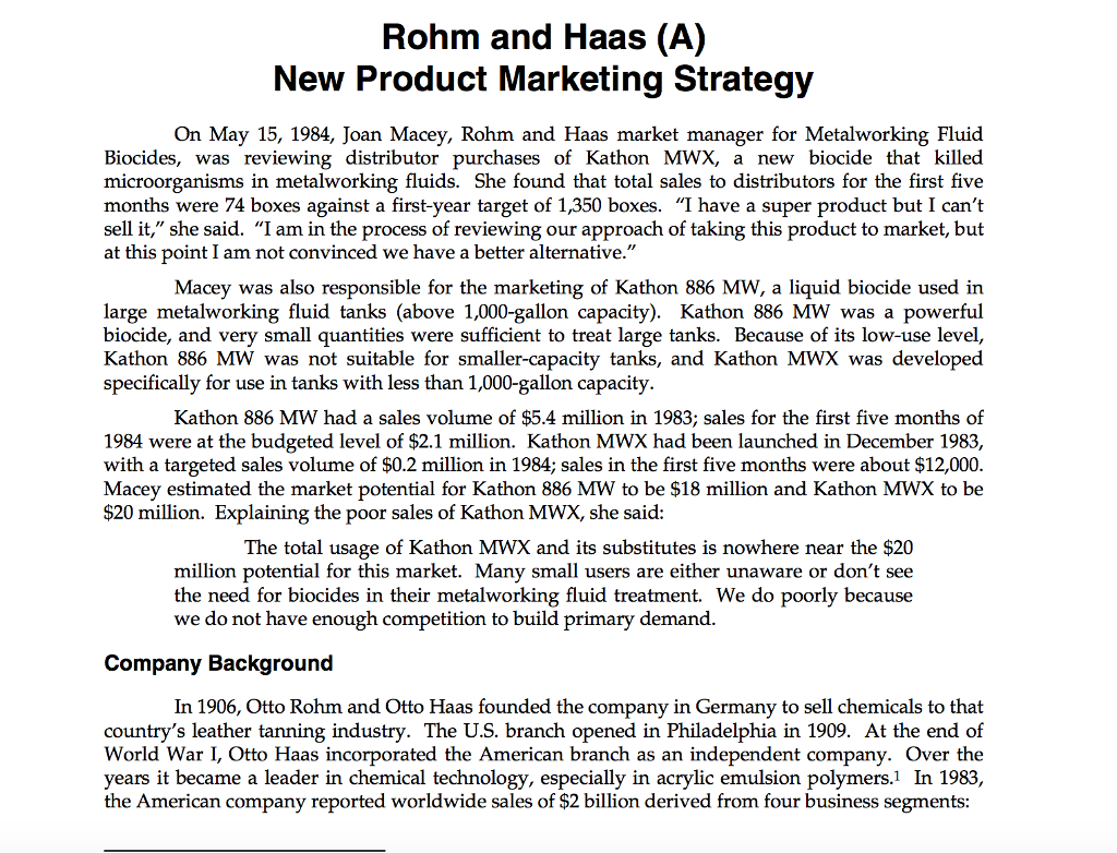 Rohm and haas case study 2