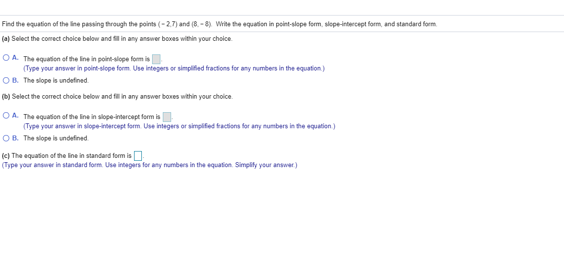 standard form undefined slope  Solved: Find The Equation Of The Line Passing Through The ...