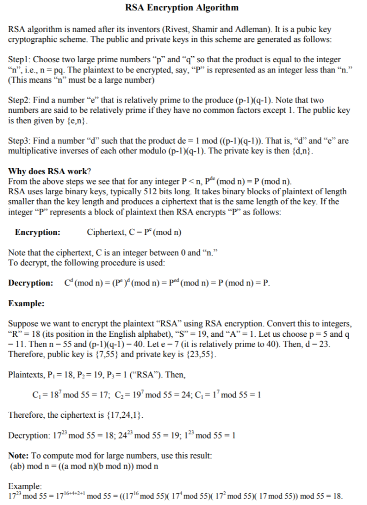 Rsa algorithm in java pdf