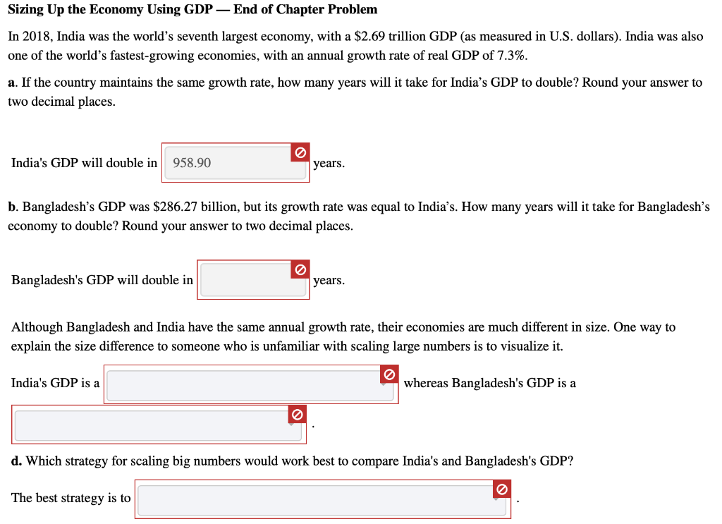 Solved Sizing Up The Economy Using Gdp End Of Chapter P Chegg Com