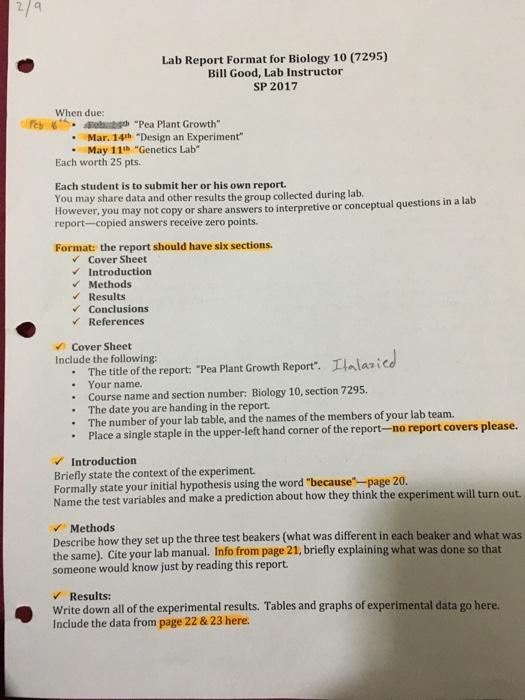 Biology lab report outline