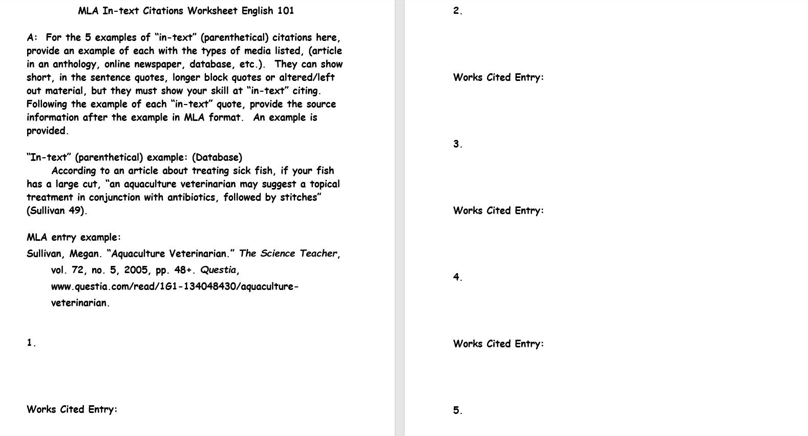 MLA In text Citations Worksheet English 101 2. Wor ...