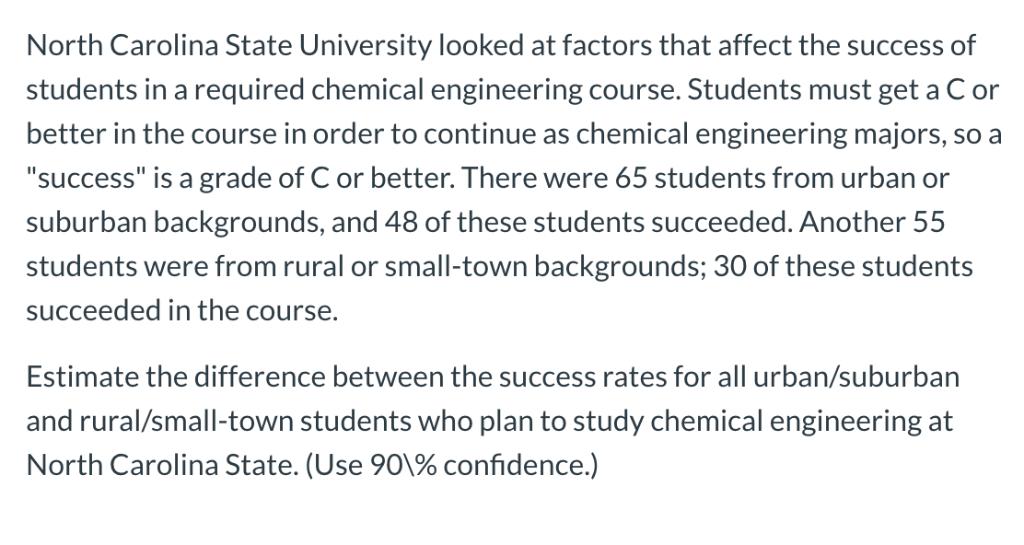 North Carolina State University Looked At Factors