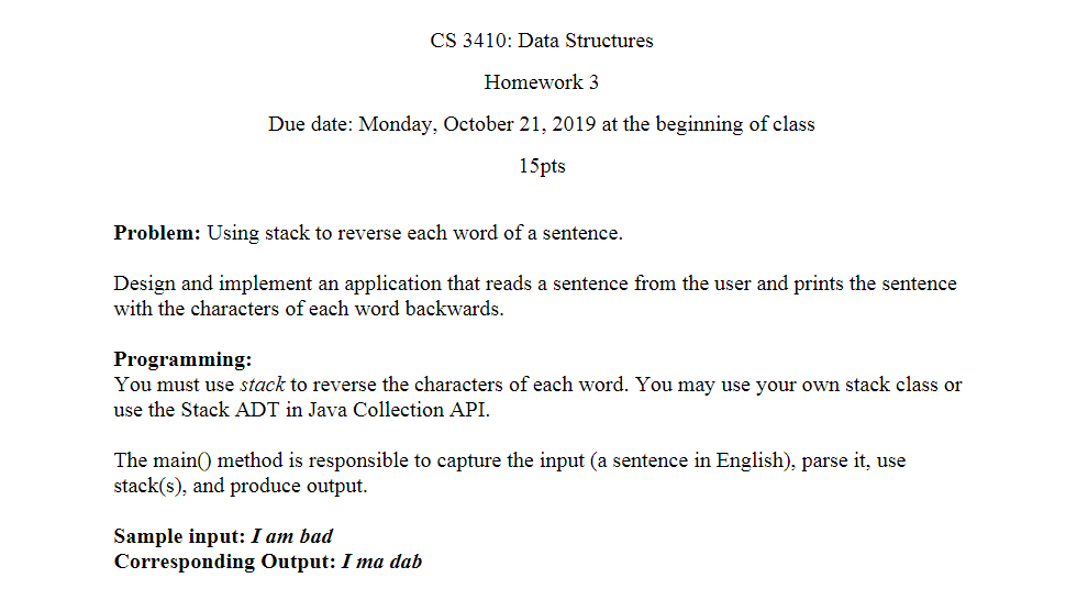 Reverse Due Date >> Solved Cs 3410 Data Structures Homework 3 Due Date Mond