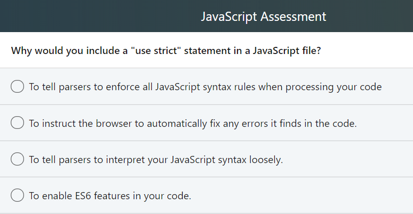 Solved: JavaScript Assessment Which Statement Sets The Per