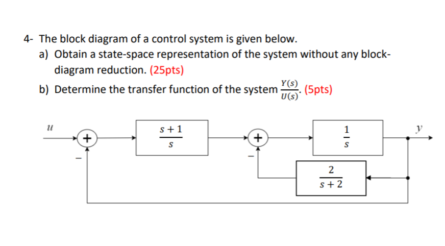block diagram from state space solved 4 the block diagram of a control system is given  the block diagram of a control system