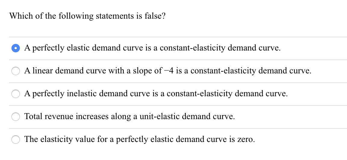Solved Which Of The Following Statements Is False O A Pe