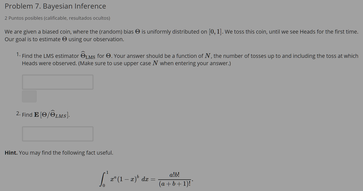 Solved: Problem 7  Bayesian Inference 2 Puntos Posibles (c