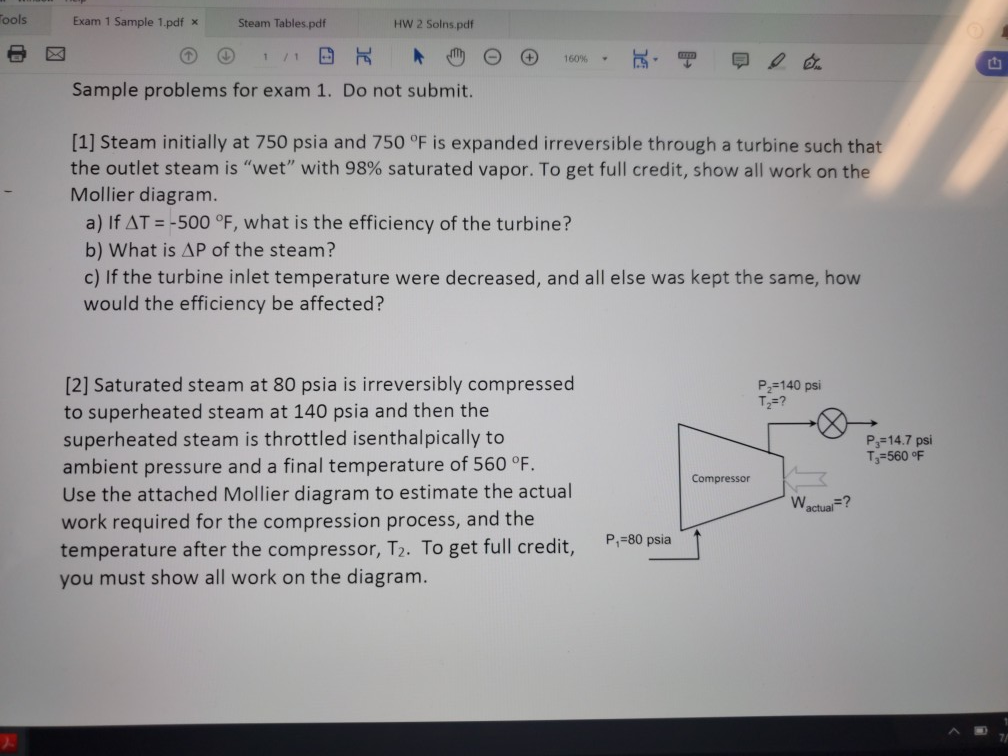 Solved: Tools Exam 1 Sample 1 pdf * Steam Tables pdf HW 2