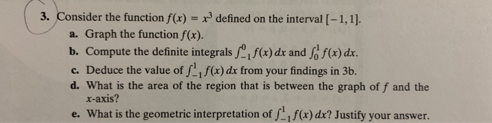 3. Consider the function f(x) = x3 defined on the interval [-1, 1]. Graph the function f(x). a. f(x) dx. b. Compute the defin
