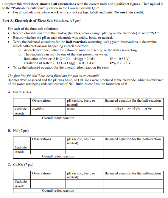 Worksheet Showing All Calculations