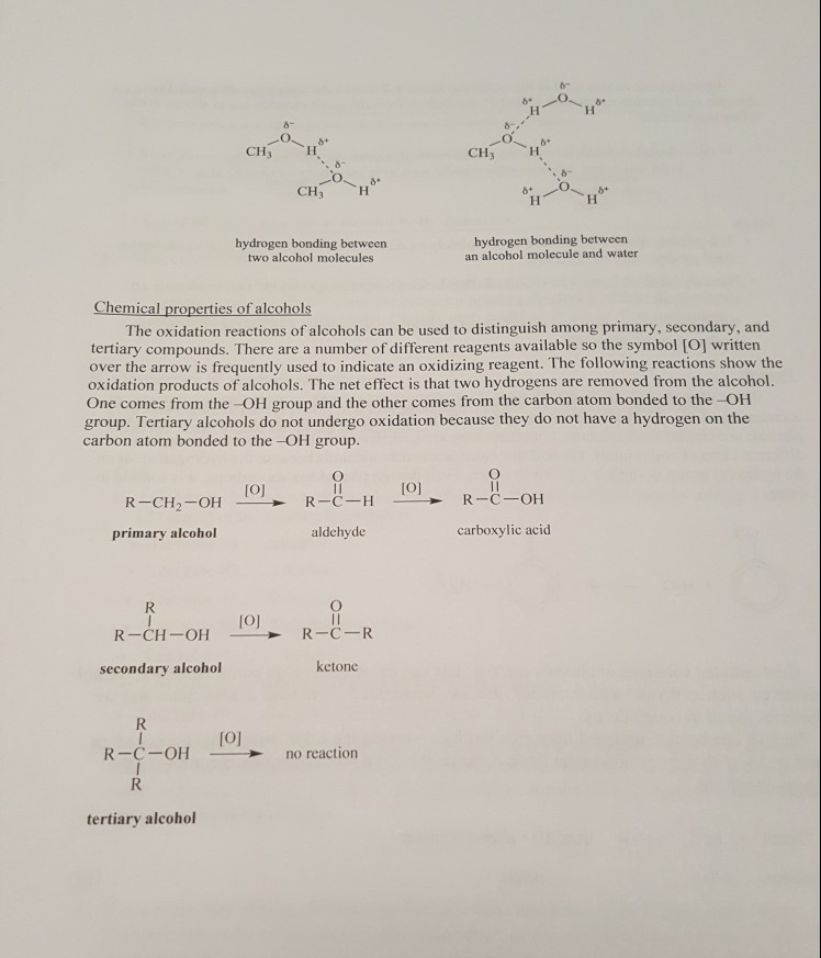 CH CHH CH CH** hydrogen bonding between two alcohol molecules hydrogen bonding between an alcohol molecule and water Chemical