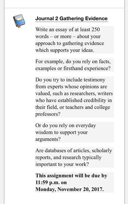 Evidence essay approach