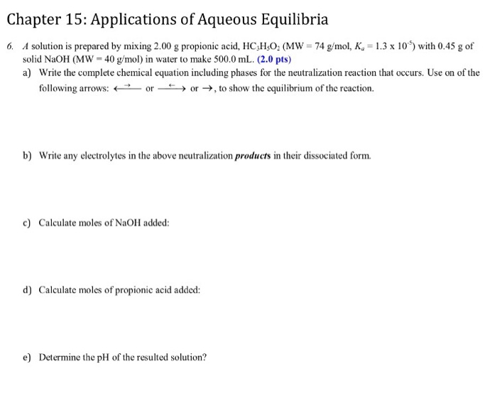 ap chemistry chapter 15 applications of aqueous equilibria