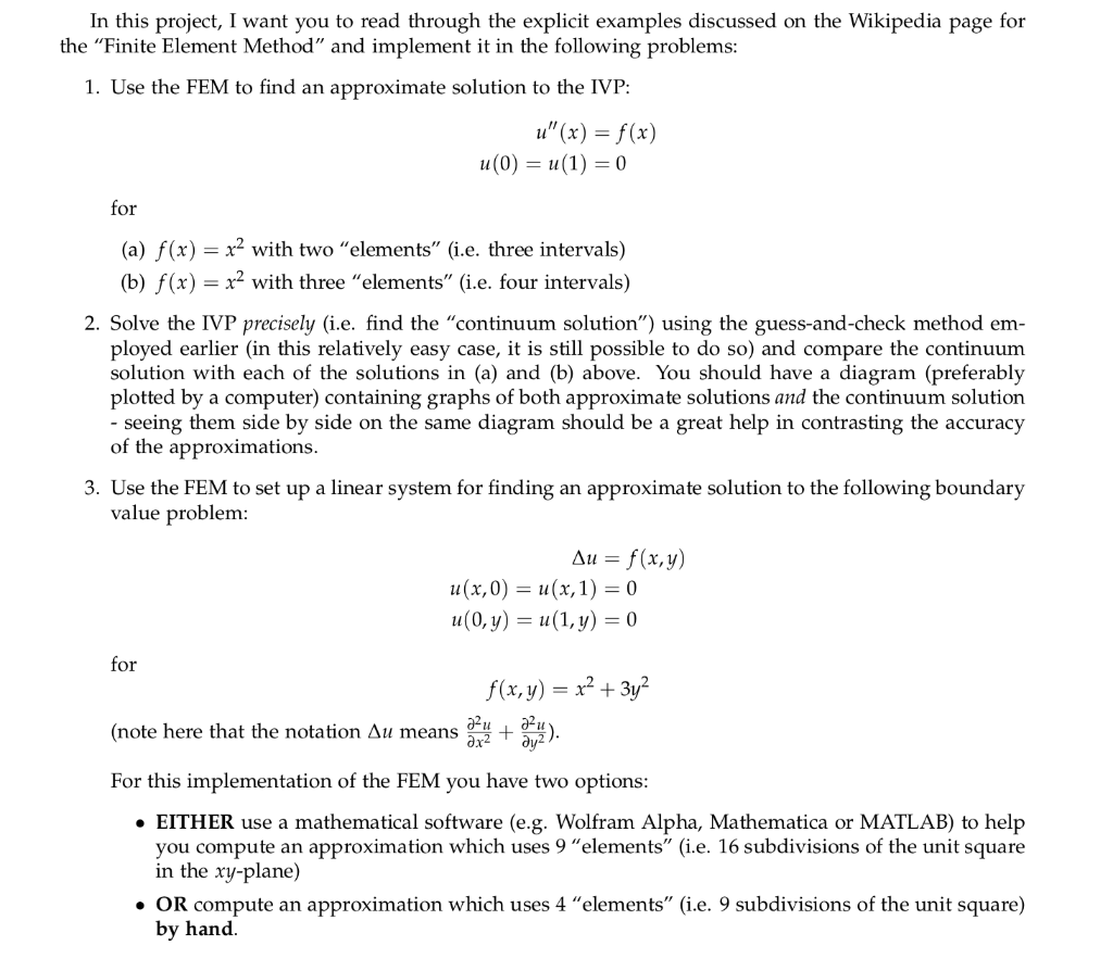 Solved: 1  Use The Finite Element Method To Find An Approx