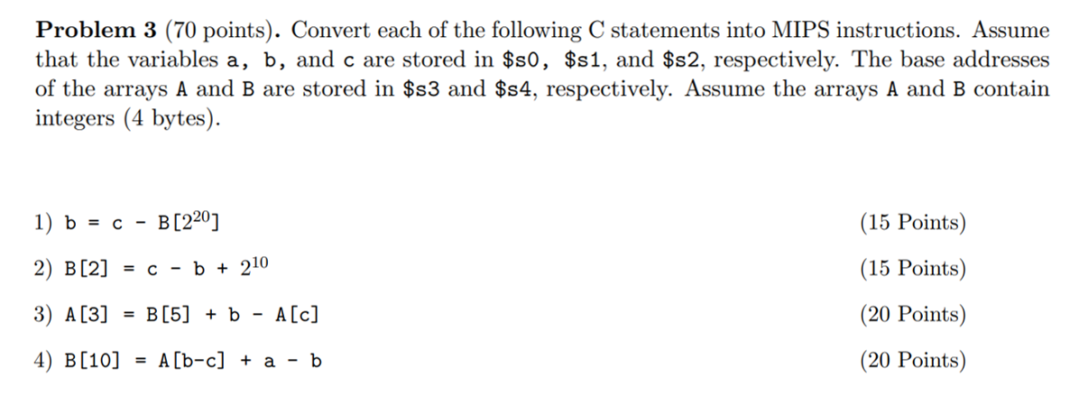 Problem 3 (70 Points)  Convert Each Of The Followi