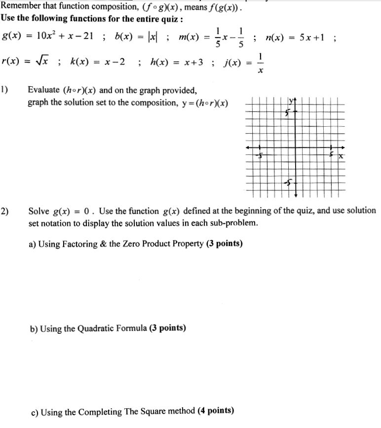 Solved: Remember That Function Composition, (fºg)(x), Mean