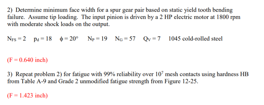 Solved 2 Determine Minimum Face Width For A Spur Gear Pa Chegg Com