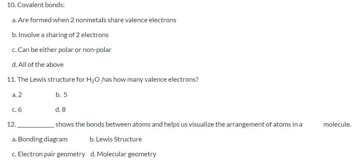 Solved 10 Covalent Bonds A Are Formed When 2 Nonmetals Chegg Com