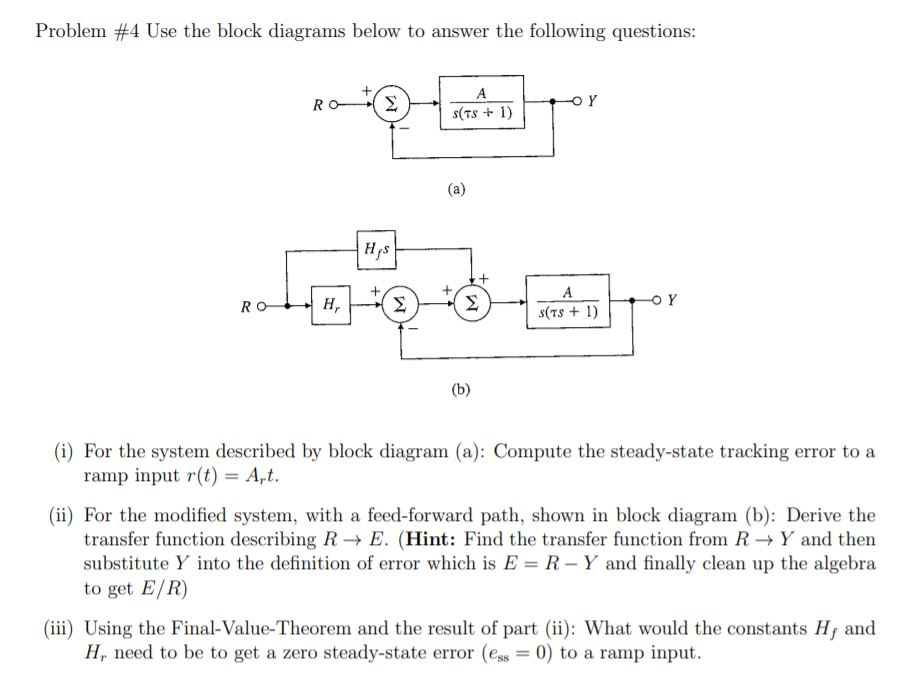 Solved Problem 4 Use The Block Diagrams Below To Answer Chegg Com
