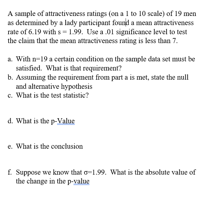 Attractiveness scale test