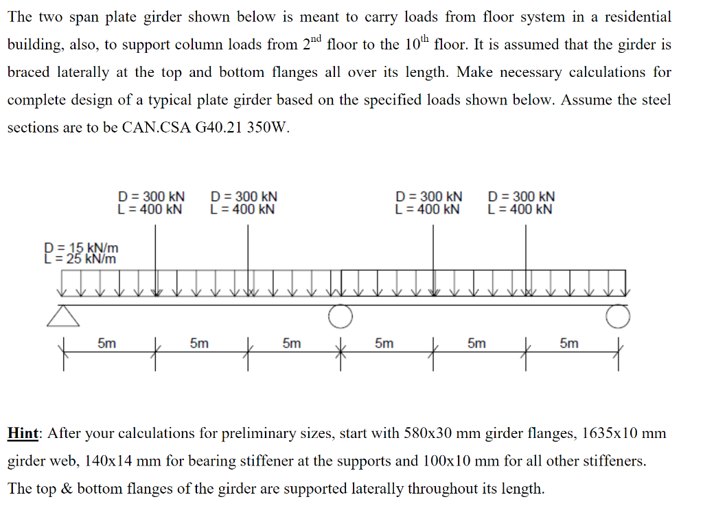 The Two Span Plate Girder Shown Below