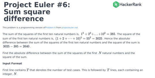 Solved: Project Euler #6: Sum Square Difference HackerRank