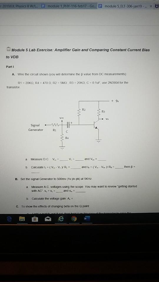Solved: 2019JUL Physics II W/L  E Module 1 PHY-116-feb 17