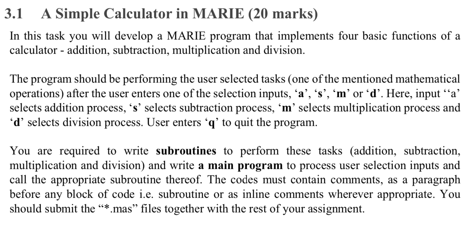 3 1 A Simple Calculator In MARIE (20 Marks) In Thi