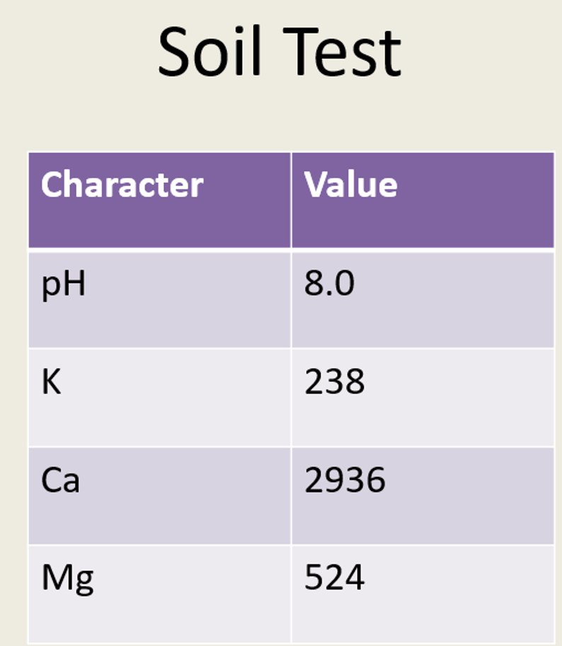 Soil Test Character Value грн 8.0 238 2936 524