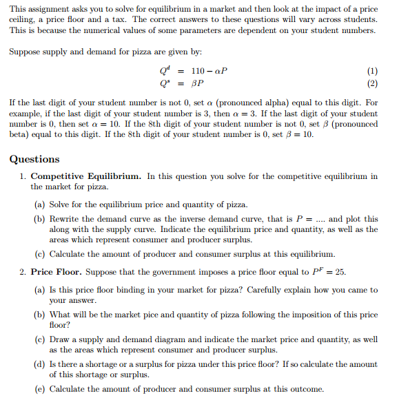 Solved A 6 B 7 Competitive Equilibrium Price Floor