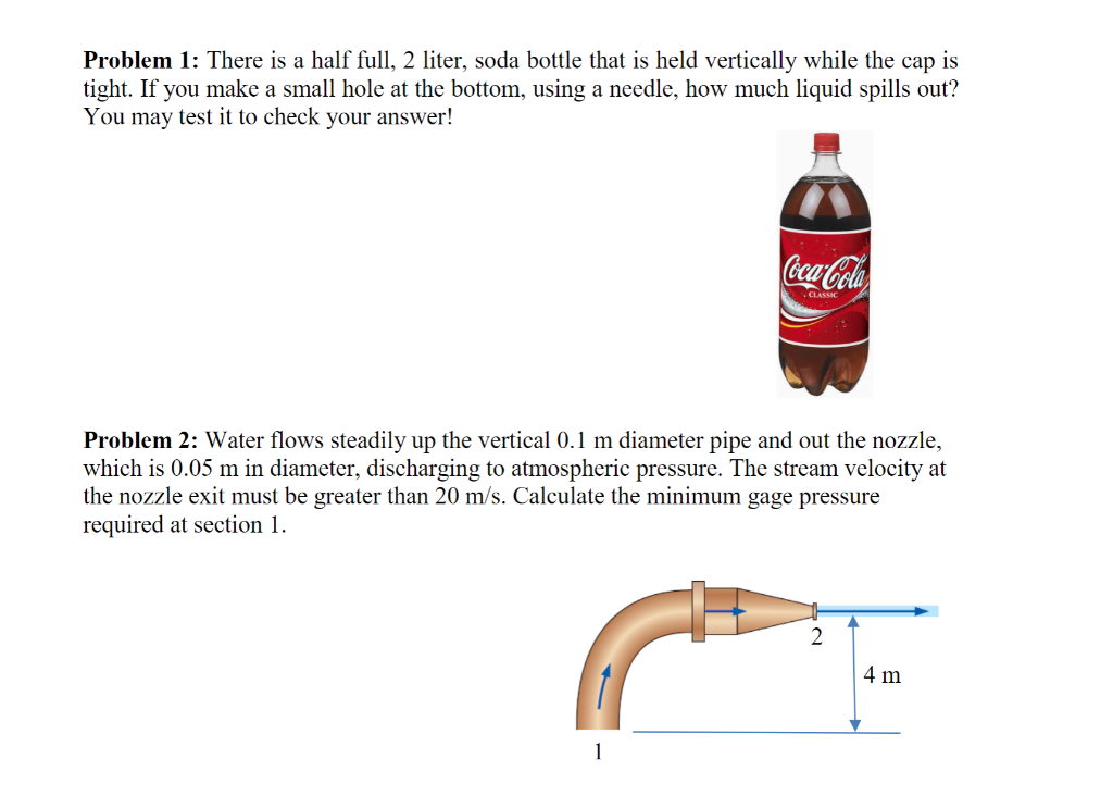 Solved Problem 1 There Is A Half Full 2 Liter Soda Bot Chegg Com