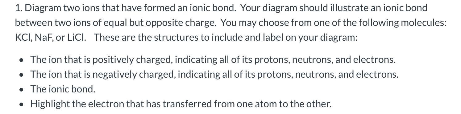 Solved 1 Diagram Two Ions That Have Formed An Ionic Bond Chegg Com