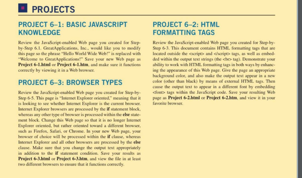 PROJECTS PROJECT 6-1: BASIC JAVASCRIPT KNOWLEDGE P