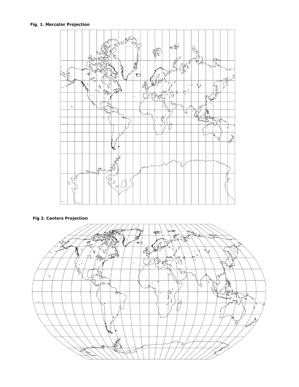 Fig. 1. Mercator Projection he Fig 2. Canters Projection AR u 7 7