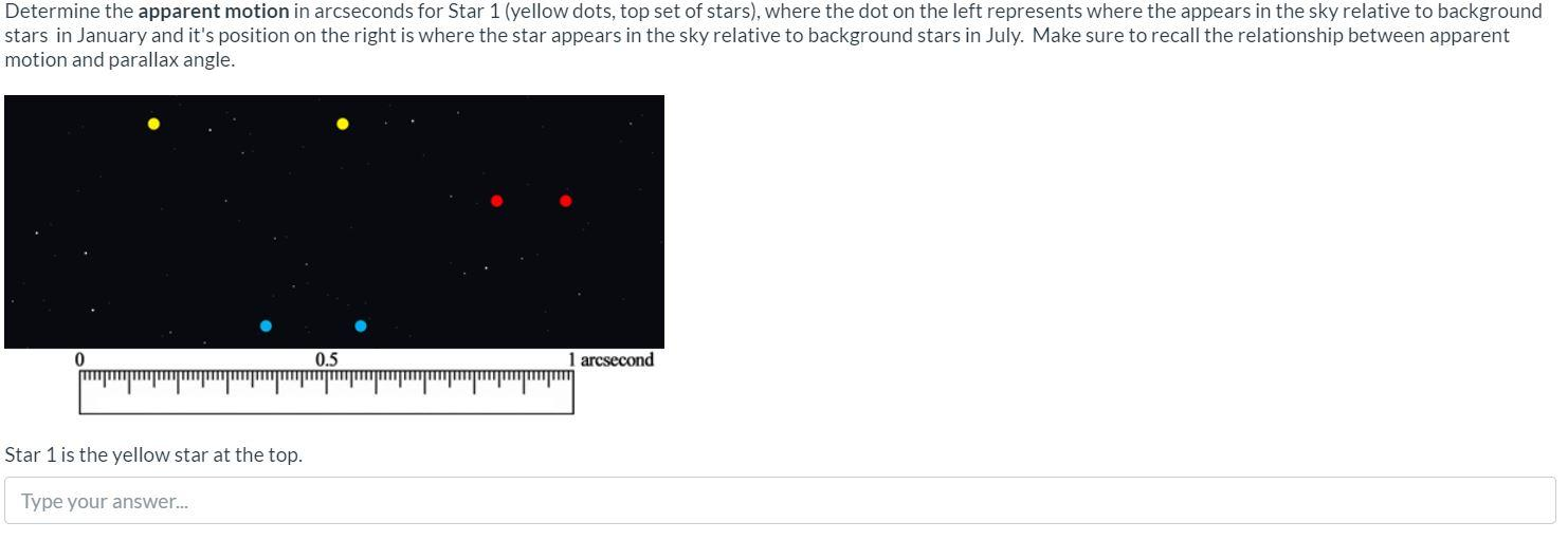 Determine the apparent motion in arcseconds for Star 1 (yellow dots, top set of stars), where the dot on the left represents