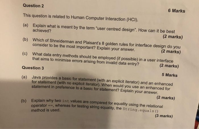 Solved 6 Marks Question 2 This Question Is Related To Hum Chegg Com