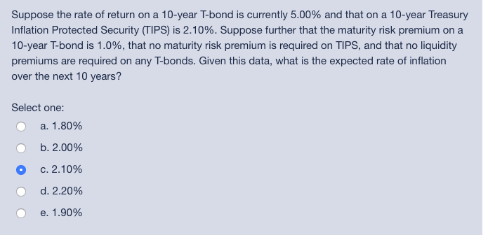 Suppose The Rate Of Return On A 10 Year
